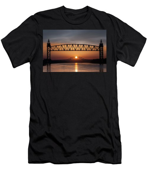 Railroad Bridge Framing The Bourne Bridge During A Sunrise Men's T-Shirt (Athletic Fit)