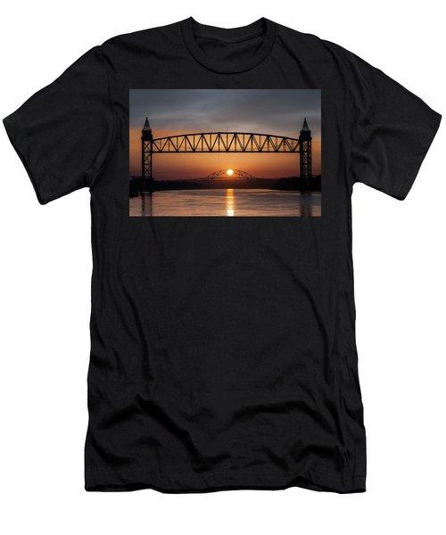 Railroad Bridge Framing The Bourne Bridge During A Sunrise Men's T-Shirt (Athletic Fit)