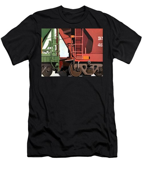 Railroad Cars - Realistic Train Oil Painting Men's T-Shirt (Athletic Fit)