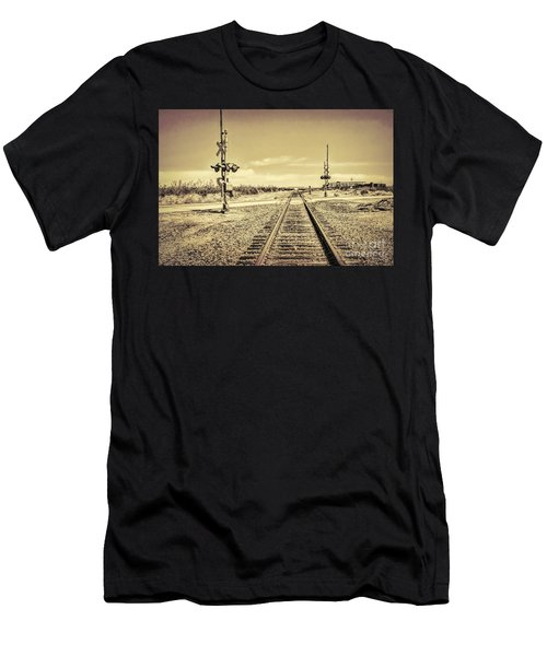 Railroad Crossing Textured Men's T-Shirt (Athletic Fit)