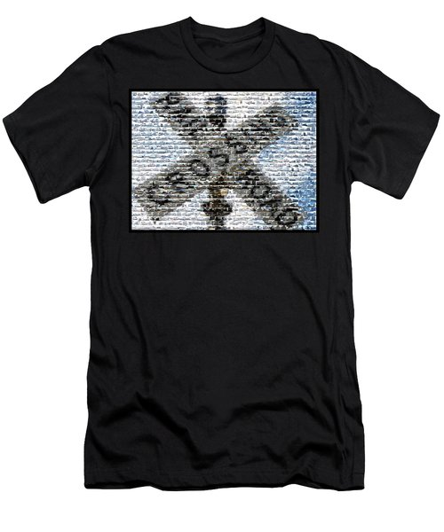 Men's T-Shirt (Slim Fit) featuring the mixed media Railroad Crossing Trains Mosaic by Paul Van Scott