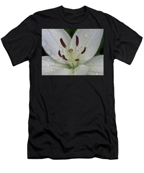 Rain Drops On Lily Men's T-Shirt (Athletic Fit)
