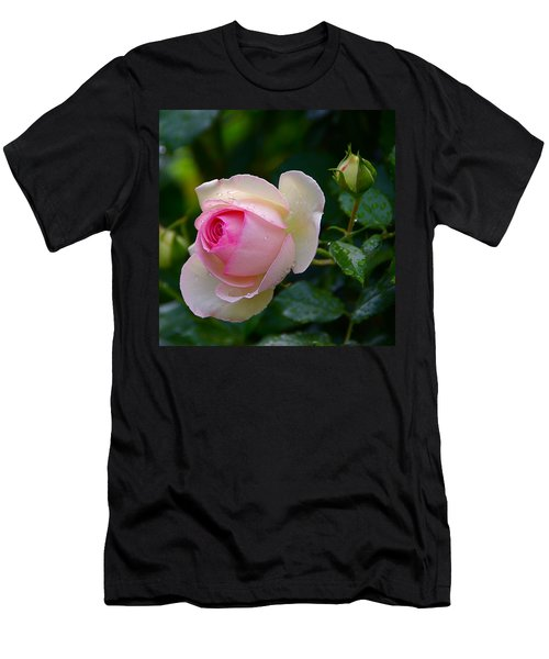 Men's T-Shirt (Slim Fit) featuring the photograph Rain-kissed Rose by Byron Varvarigos