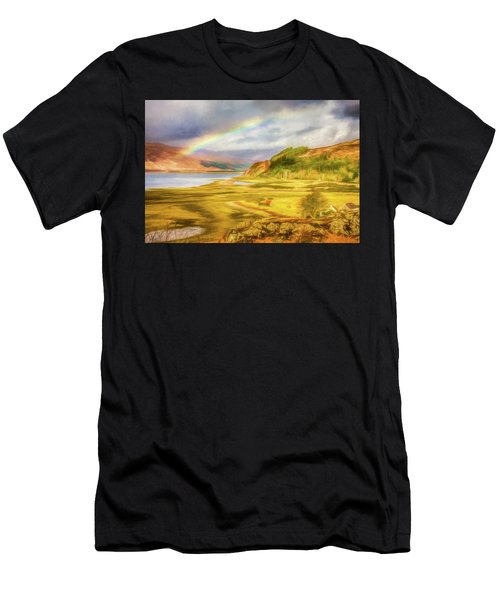 Men's T-Shirt (Athletic Fit) featuring the photograph Painted Effect - Rainbow Across The Valley by Susan Leonard