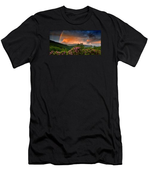 Rainbow And Rhododendrons On The Parkway Men's T-Shirt (Athletic Fit)