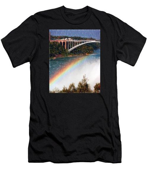 Rainbow Bridge - Niagara Falls Men's T-Shirt (Slim Fit) by John Freidenberg