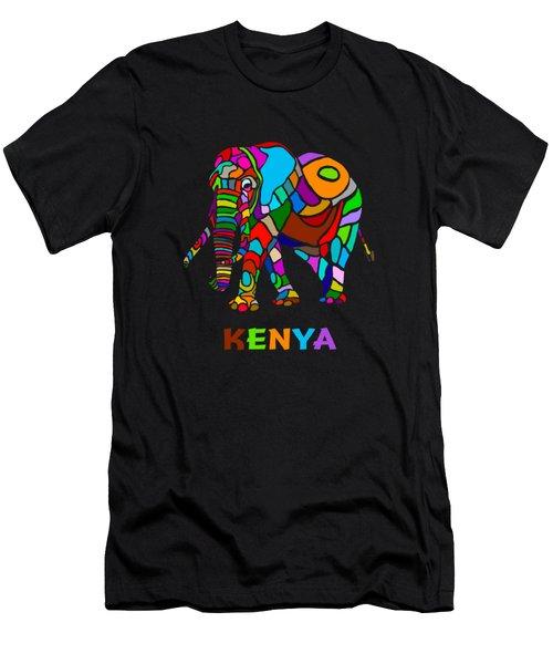 Men's T-Shirt (Slim Fit) featuring the digital art Rainbow Elephant by Anthony Mwangi