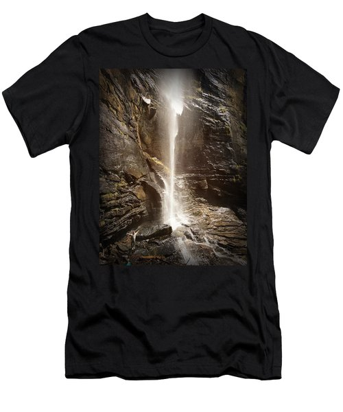 Men's T-Shirt (Athletic Fit) featuring the photograph Rainbow Falls Of Jones Gap by Kelly Hazel