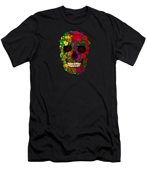 Rainbow Flowers Sugar Skull Men's T-Shirt (Athletic Fit)