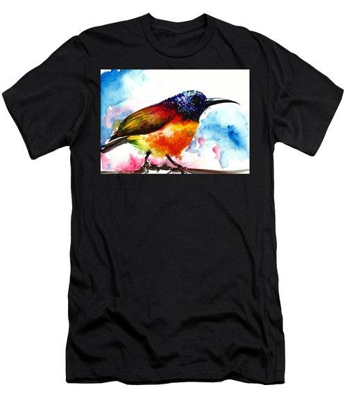 Rainbow Hummingbird Watercolor Men's T-Shirt (Athletic Fit)