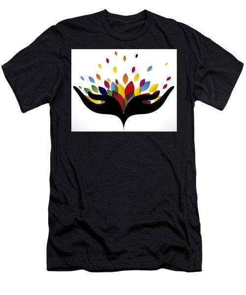 Rainbow Leaves Men's T-Shirt (Slim Fit)