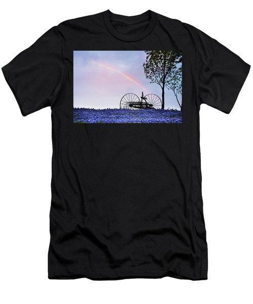 Rainbow Over Texas Bluebonnets Men's T-Shirt (Athletic Fit)