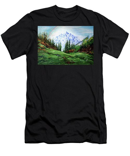 Rainbow Over The Snow Covered Mountain Men's T-Shirt (Athletic Fit)