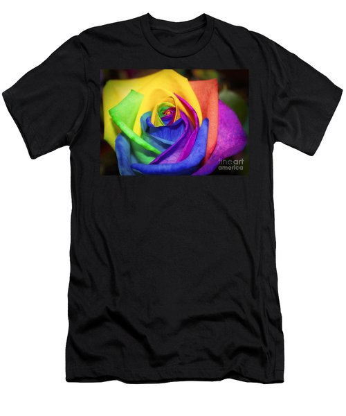 Rainbow Rose In Paint Men's T-Shirt (Athletic Fit)
