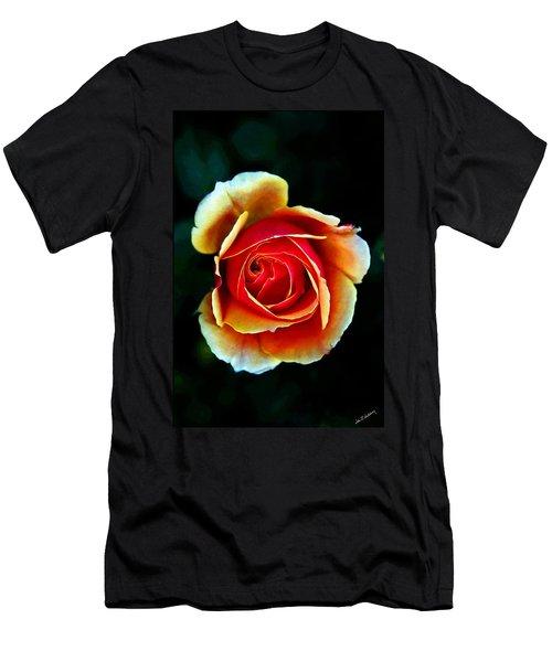 Men's T-Shirt (Slim Fit) featuring the photograph Rainbow Rose by John Haldane