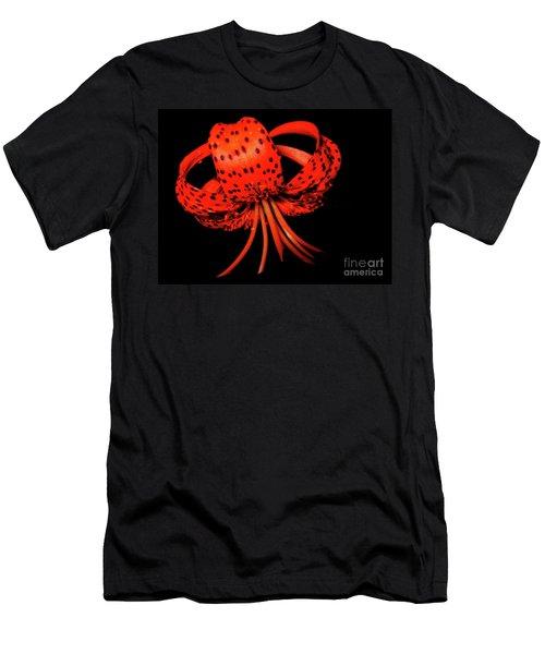 Orange Tiger Lily Flower On Black Men's T-Shirt (Athletic Fit)