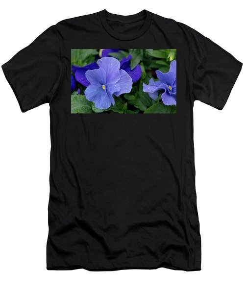 Raindrops On Purple Pansy Men's T-Shirt (Athletic Fit)