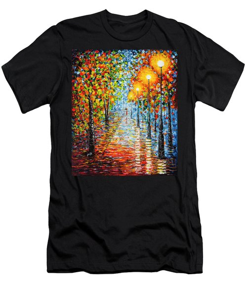 Men's T-Shirt (Athletic Fit) featuring the painting Rainy Autumn Evening In The Park Acrylic Palette Knife Painting by Georgeta Blanaru