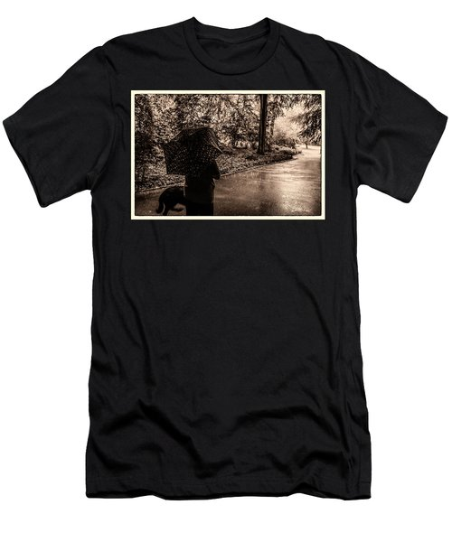 Men's T-Shirt (Slim Fit) featuring the photograph Rainy Day - Woman And Dog by Madeline Ellis