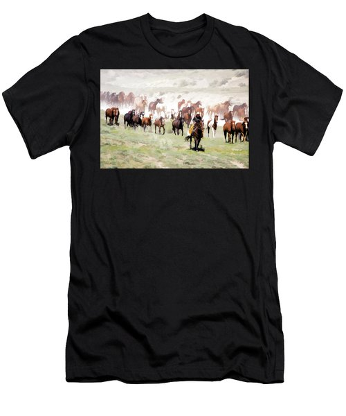 Raising Dust On The Great American Horse Drive In Maybell Colorado Men's T-Shirt (Athletic Fit)