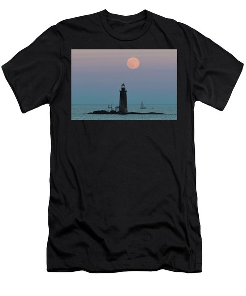 Ram Island Light Buck Moon And Sailboat Men's T-Shirt (Athletic Fit)