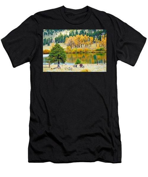 Ranch Pond In Autumn Men's T-Shirt (Athletic Fit)