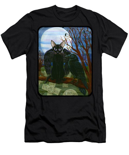 Men's T-Shirt (Slim Fit) featuring the painting Raven's Moon Black Cat Crow by Carrie Hawks