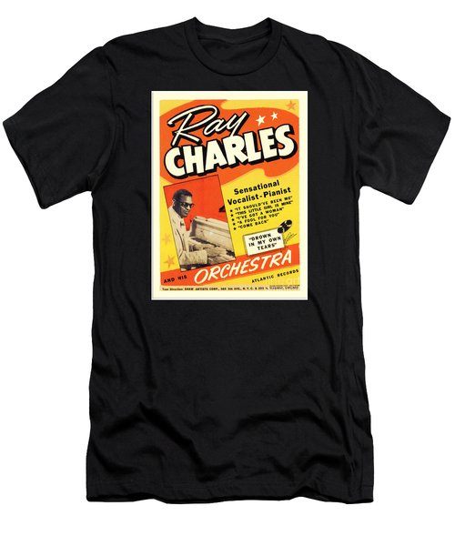 Ray Charles Rock N Roll Concert Poster 1950s Men's T-Shirt (Athletic Fit)