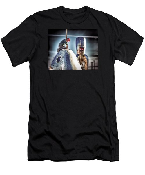 Men's T-Shirt (Slim Fit) featuring the photograph Raygun Gothic Rocketship Safe Landing by Steve Siri