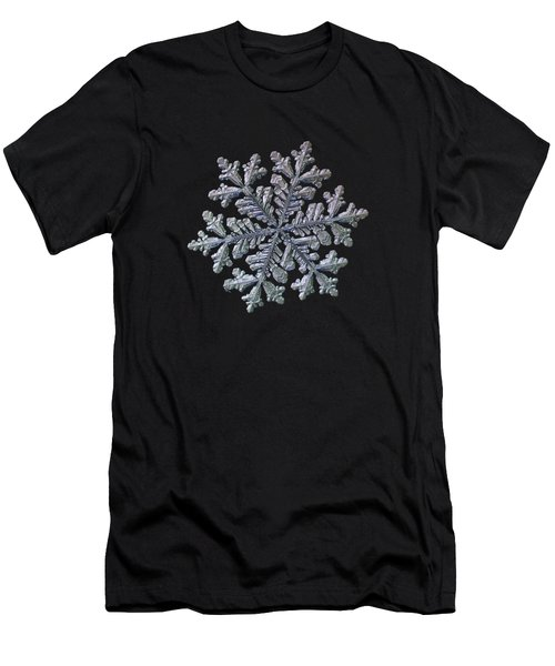 Men's T-Shirt (Athletic Fit) featuring the photograph Real Snowflake - Hyperion Black by Alexey Kljatov