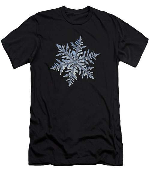 Men's T-Shirt (Athletic Fit) featuring the photograph Real Snowflake - Silverware Black by Alexey Kljatov