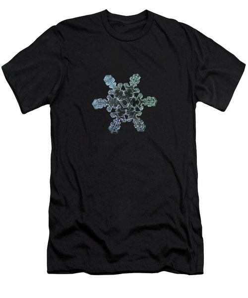Men's T-Shirt (Athletic Fit) featuring the photograph Real Snowflake - Slight Asymmetry New by Alexey Kljatov