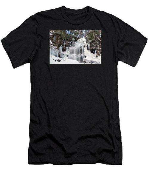 Receding Winter Ice At Ganoga Falls Men's T-Shirt (Athletic Fit)