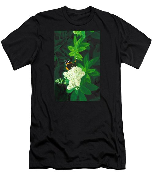 Red Admiral On Spirea Men's T-Shirt (Athletic Fit)