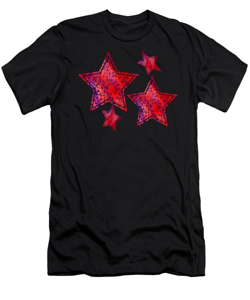Red And Blue Splatter Abstract Men's T-Shirt (Athletic Fit)