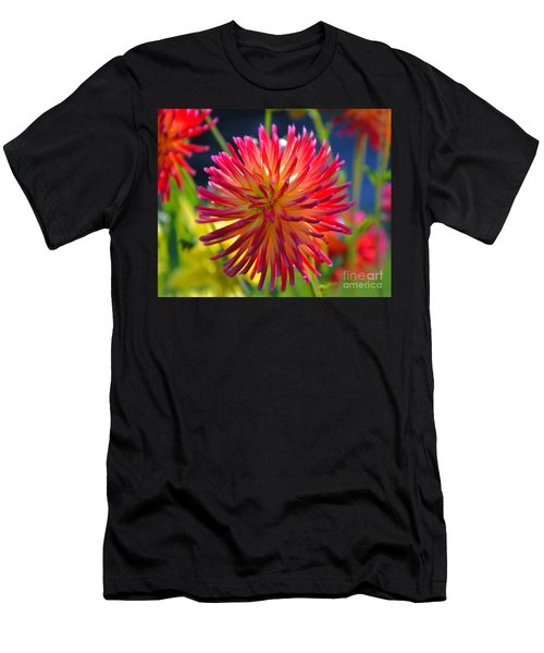 Red And Yellow Dahlia Men's T-Shirt (Athletic Fit)
