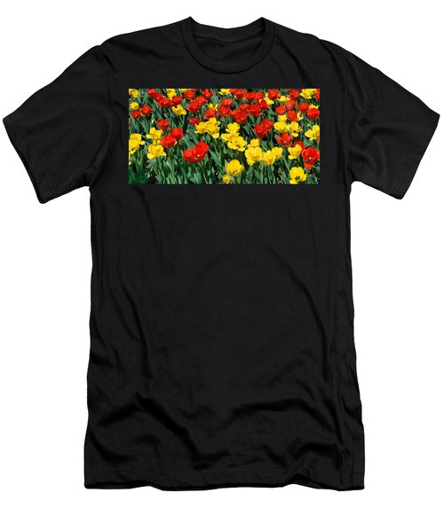 Red And Yellow Tulips  Naperville Illinois Men's T-Shirt (Slim Fit) by Michael Bessler