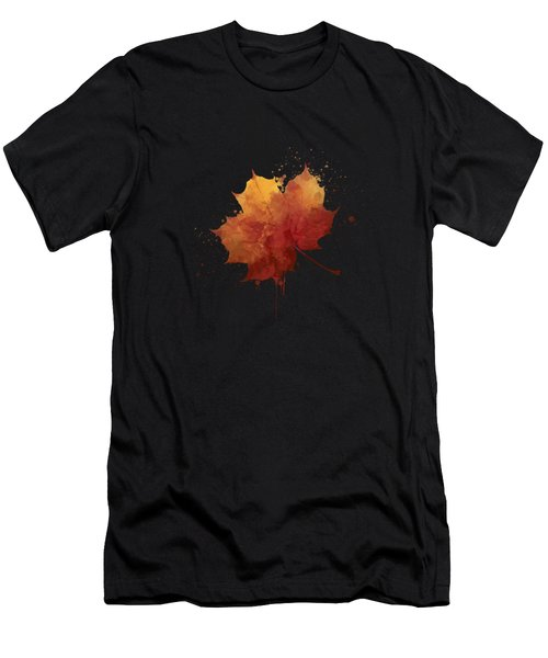 Red Autumn Leaf Men's T-Shirt (Athletic Fit)
