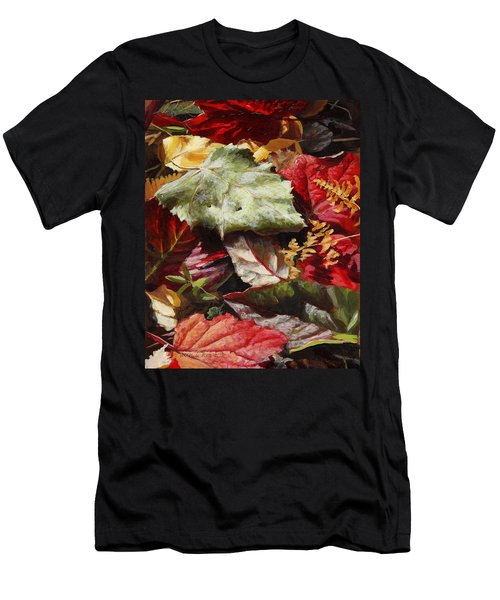 Men's T-Shirt (Slim Fit) featuring the painting Red Autumn - Wasilla Leaves by Karen Whitworth