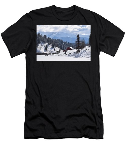 Men's T-Shirt (Athletic Fit) featuring the digital art Red Barn Burgess Reservoir Divide Co by Margarethe Binkley