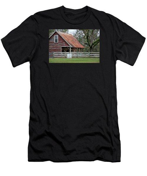 Red Barn With A Rin Roof Men's T-Shirt (Slim Fit) by Lynn Jordan