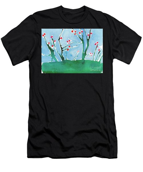 Red Berry Flowers Men's T-Shirt (Athletic Fit)