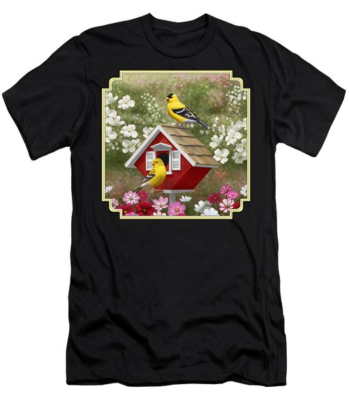 Red Birdhouse And Goldfinches Men's T-Shirt (Athletic Fit)