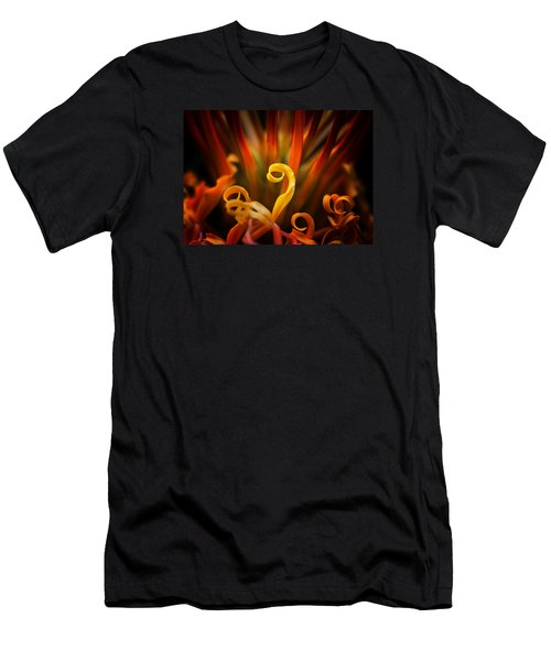 Men's T-Shirt (Athletic Fit) featuring the photograph Red Blazing Flower by Ken Barrett