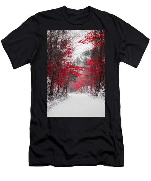 Red Blossoms  Men's T-Shirt (Athletic Fit)