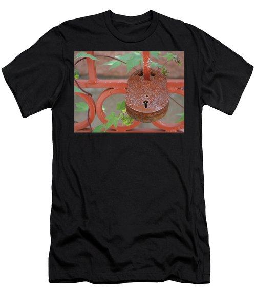 Men's T-Shirt (Slim Fit) featuring the photograph Red Bridge Red Lock by Carolina Liechtenstein
