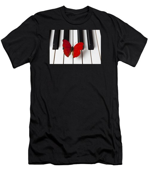 Red Butterfly On Piano Keys Men's T-Shirt (Athletic Fit)