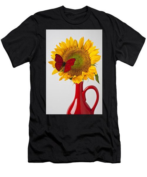 Red Butterfly On Sunflower On Red Pitcher Men's T-Shirt (Athletic Fit)
