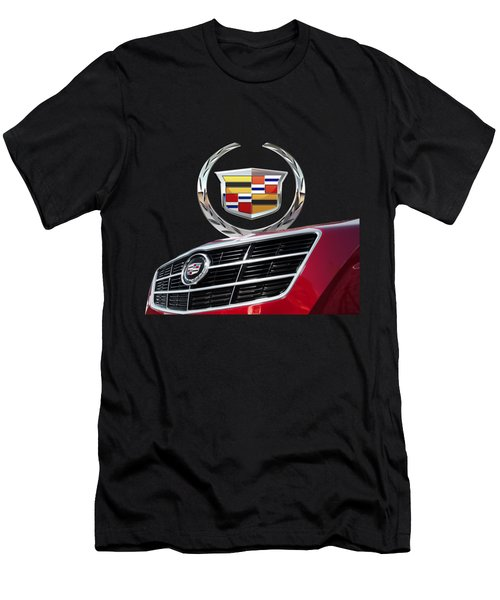 Red Cadillac C T S - Front Grill Ornament And 3d Badge On Black Men's T-Shirt (Athletic Fit)