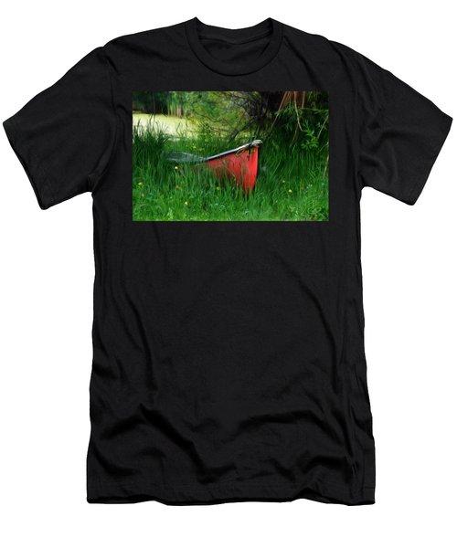 Red Canoe Men's T-Shirt (Slim Fit) by Debra Baldwin
